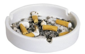 Cigarette+butts+in+ash+tray